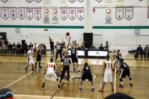 Langara Falcons tips-off against the VIU Mariners in the PacWest gold medal game.